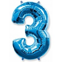 Цифра фольгированная 3 синий