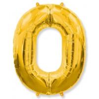 Цифра Фольгированная 0 золото