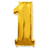 Цифра фольгированная 1 золото