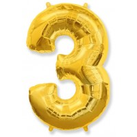 Цифра фольгированная 3 золото