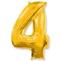Цифра фольгированная 4 золото