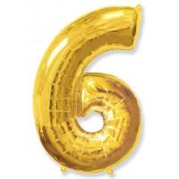 Цифра фольгированная 6 золото