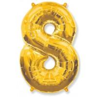 Цифра фольгированная 8 золото