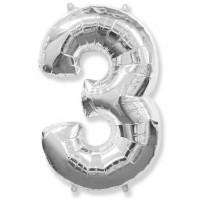 Цифра фольгированная 3 серебро