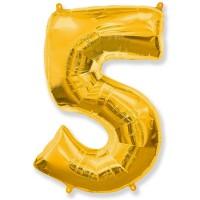 Цифра фольгированная 5 золото