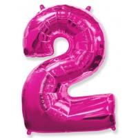 Цифра фольгированная 2 розовая