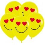 Смайл влюбленный, Желтый. Шар с гелием