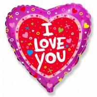 """Сердце 18"""" Я тебя люблю Сердечки и крестики"""