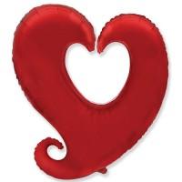 """Сердце витое Красный 32"""""""