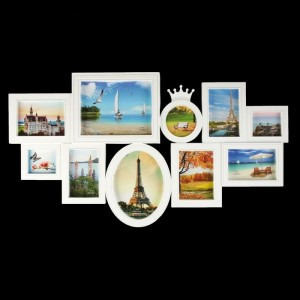 """Фоторамка пластик на 10 фото 10х10, 10х15, 13х18, 15х20, 20х25 см """"Корона"""" белая 45х80 см в Севастополе  Брендированные шары   Логотип на шаре"""